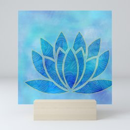 Blue Watercolor Lotus Flower Art Mini Art Print