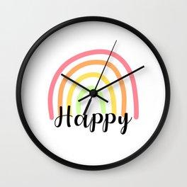Rainbow with Happy Text Wall Clock