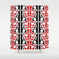 maori Shower Curtains featuring  Maori Kowhaiwhai Traditional Pattern  by mailboxdisco