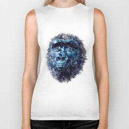 Monkey Watercolor painting Art Biker Tank