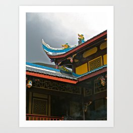 Temple Rooftop Art Print