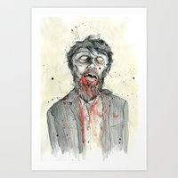 zombie Art Prints featuring Zombie! by Chris Gauvain