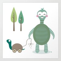 tortoise Art Prints featuring Tortoise by Esther Ilustra