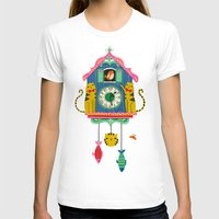wall clock T-shirts featuring Cuckoo Clock Cats by Anne Was Here