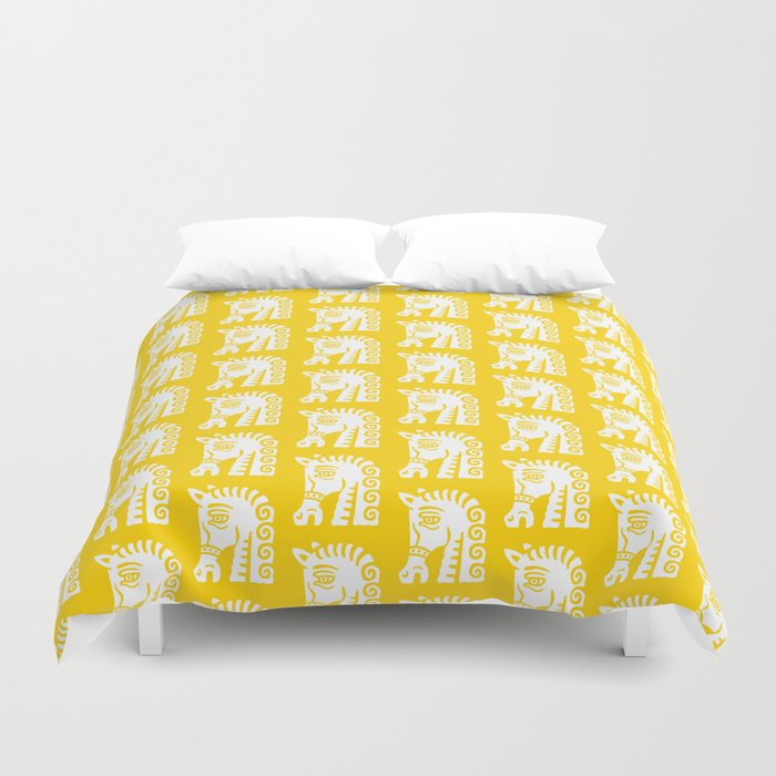 Mid Century Horse Pattern Yellow Duvet Cover