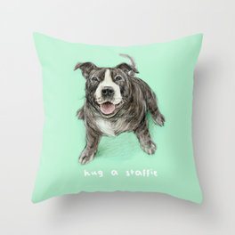 Hug a Staffie Throw Pillow