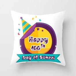 Happy 100 Days Of School Throw Pillow