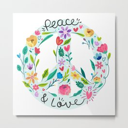 Peace And Love Flowers Sign Metal Print