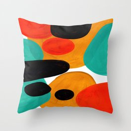 Mid Century Modern Abstract Minimalist Retro Vintage Style Rolie Polie Olie Bubbles Teal Orange Throw Pillow