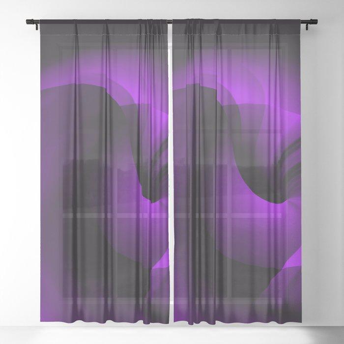 Purple Swirl On Black Sheer Curtain
