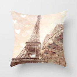 Eiffel Tower Carousel Dreamy Sepia Hearts  Throw Pillow