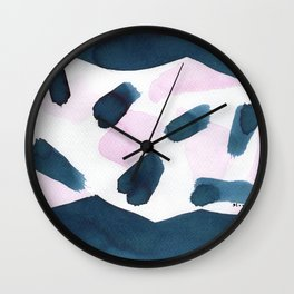 Indigo and pink abstract 101 Wall Clock