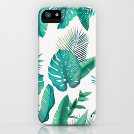 Tropical leafs pattern iPhone Case