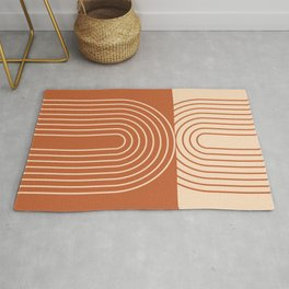 Geometric Lines in Terracotta and Beige 50 (Rainbow Abstraction)  Rug