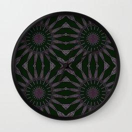 Black Eggplant Purple Pinwheel Flowers Wall Clock