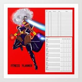 FITNESS PLANNER/ LOG: GODDESS OF THUNDER (Red) Art Print
