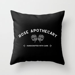 Rose apothecary Handcrafted with care. Rosebud Motel. Ew David Throw Pillow
