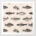 Fishes In Geometrics (Red) by speakerine
