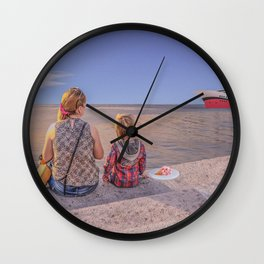 Waiting. Mother and child Wall Clock