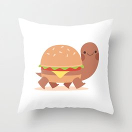 Burger turtle Throw Pillow