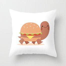 Burger turtle Throw Pillow