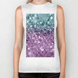 Mermaid Scales on Aqua Purple MERMAID Girls Glitter #2 #shiny #decor #art #society6 Biker Tank