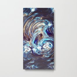 Abstract Pattern / Space Abstract / Space Pattern / Blue and Gold Metal Print