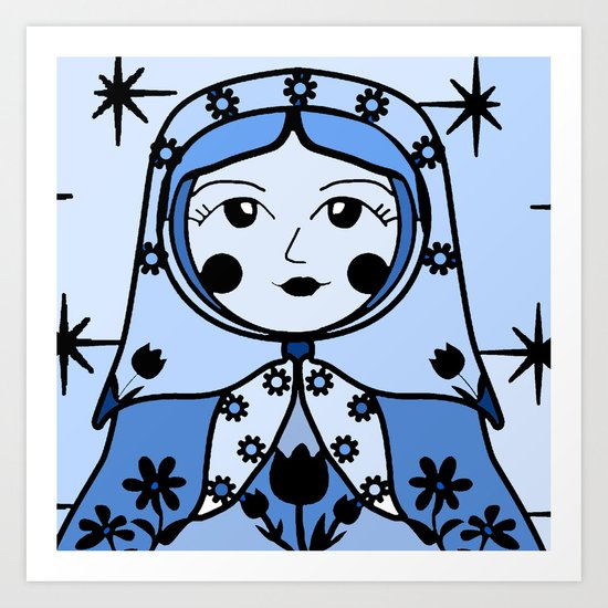 Matryoshka russian doll colorful illustration wall decor - Marina Art Print