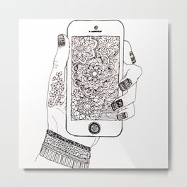 Mandala meets iPhone Metal Print