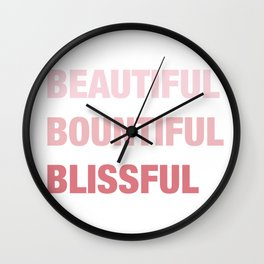 Daily mantra in pink Wall Clock