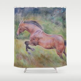 A brown horse jumping on a green meadow Pastel drawing Animal Art in the landscape Shower Curtain