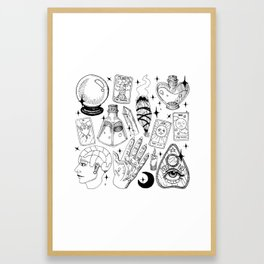 Fortune Teller Starter Pack Black and White Framed Art Print