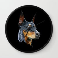 doberman Wall Clocks featuring Doberman by Det Tidkun