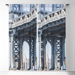 Manhattan Bridge Empire Blue Blackout Curtain
