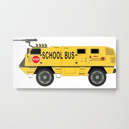Armored Yellow School Bus Anti-Weapon Tank Metal Print
