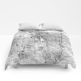 Portland White Map Comforters