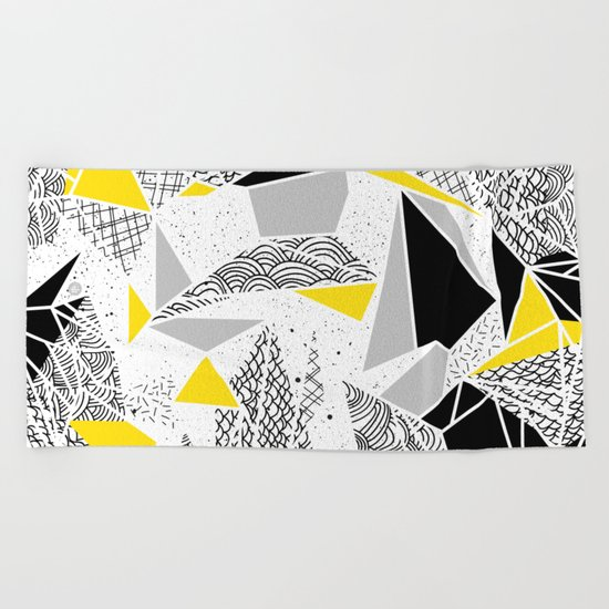 Geometric abstract textures Beach Towel