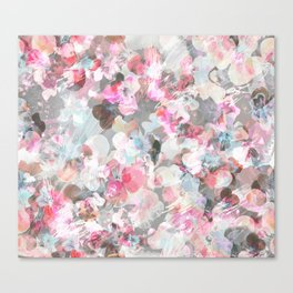 Pastel pink pansies splatter Canvas Print