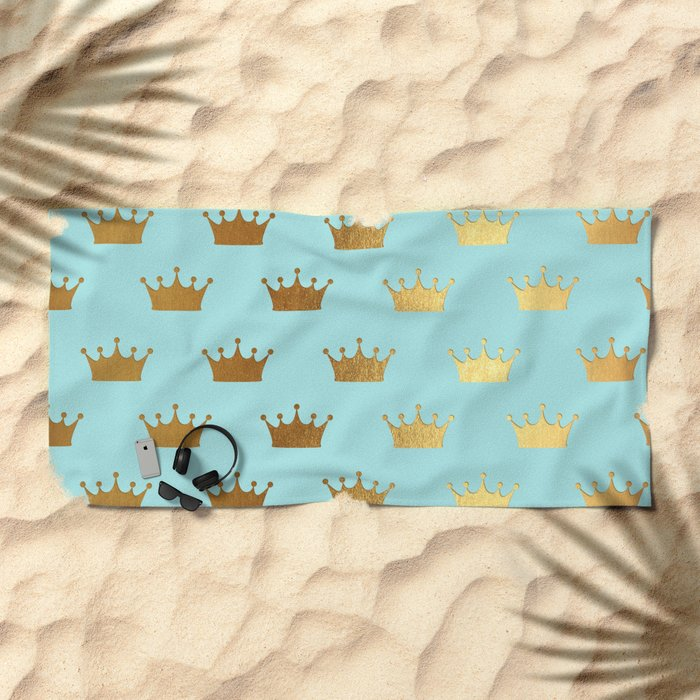 Gold Glitter effect crowns on aqua - Heraldy Pattern for Princesses on #Society6 Beach Towel