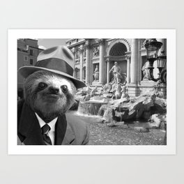 Sloth in Rome in front of Trevi Fountain Art Print