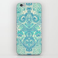 stickers iPhone & iPod Skins featuring Botanical Geometry - nature pattern in blue, mint green & cream by micklyn