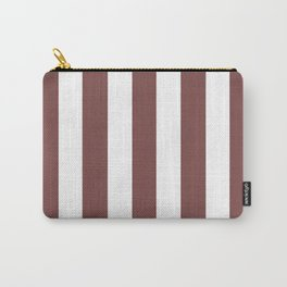 Tuscan red violet - solid color - white vertical lines pattern Carry-All Pouch