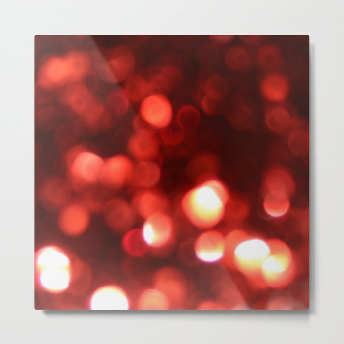 Red Blurred Lights Metal Print
