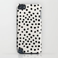 Preppy brushstroke free polka dots black and white spots dots dalmation animal spots design minimal iPod touch Slim Case