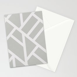 Modern Gray and White Abstract Stripes Stationery Cards