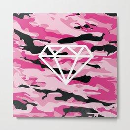 Pink Camo Diamond Metal Print