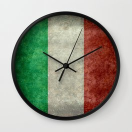 Flag of Italy, worn grungy style Wall Clock