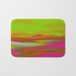 """Pixel Beach"" (Fuchsia/Yellow) Digital Painting // Fine Art Print Bath Mat"