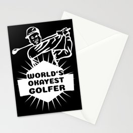 World's Okayest Golfer Golf Sport Golfing Gift Stationery Cards