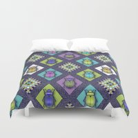 quilt Duvet Covers featuring Scarabs Quilt by Vannina